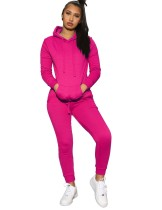 Autumn Solid Color Pocketed Hoody Sweatsuit