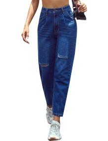 Stilvolle blau gerippte Jeans mit hoher Taille