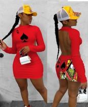 Yazdır Kesik Geri Seksi Uzun Kollu Bodycon Club Elbise