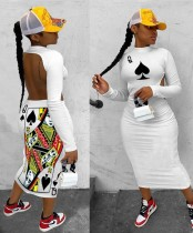 Print Ausschnitt zurück Sexy Langarm Midi Kleid