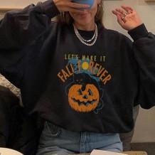 Halloween Print O-Neck Loose Shirt