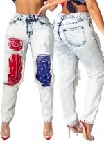 Calças de ganga elegantes rasgadas em patchwork de cintura alta