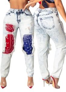 Stilvolle Hight Waist Patchwork Ripped Light Jeans