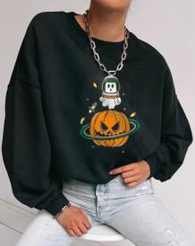 Camisa solta com estampa de Halloween com decote em O