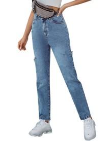 Stilvolle Blue Ripped High Waist Regular Jeans
