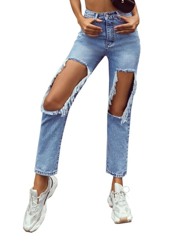 Jeans retos de cintura alta com recorte azul elegante