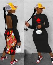 Yazdır Kesik Geri Seksi Uzun Kollu Midi Elbise