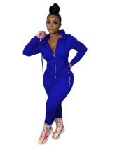 Einfarbiger, langärmliger Hoodie-Trainingsanzug mit Taschen