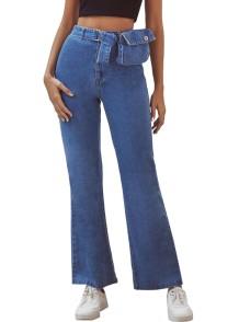 Einfache blaue High Waist Flare Jeans