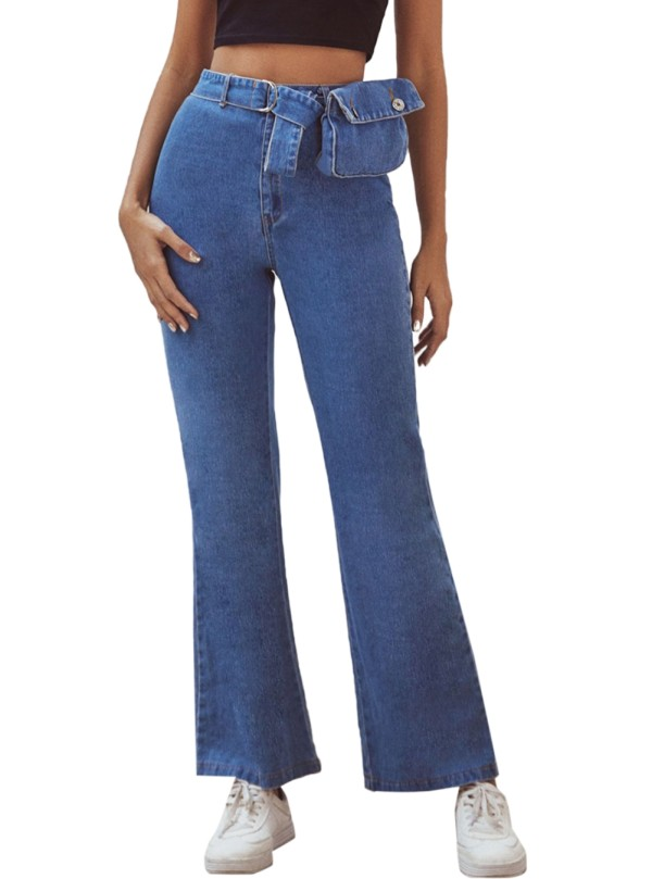 Jeans Simples Flare de Cintura Alta