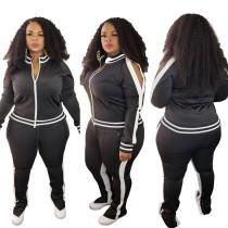 Plus Size Cut Out Langarm Zipper Trainingsanzug