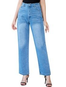 Einfache blaue Jeans mit hoher Taille
