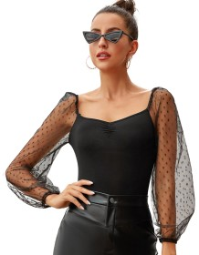 Sexy Black Fitted Shirt with Polka Mesh Sleeves