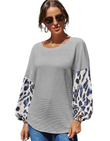 Autumn Patchwork O-Neck Loose Shirt with Full Sleeves