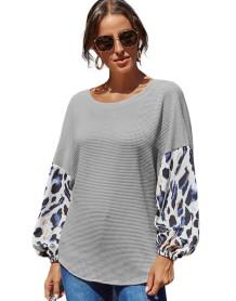 Camisa solta de retalhos de outono com decote em O com mangas compridas