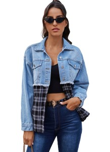 Stilvolle Blue Denim Patchwork Plaid Jacke