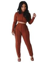 Conjunto de pantalón y top corto liso sexy de dos piezas a juego de otoño