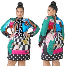Plus Size Autumn Character Print Colorful Tied Party Dress