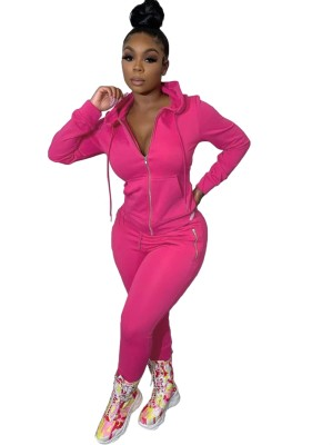 Autumn Solid Color Tight Hoodie Tracksuit