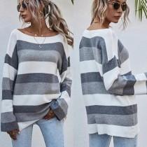 Herbst gestreifte lose Pullover mit O-Ausschnitt