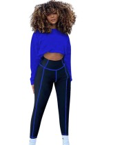 Autumn Matching Two Piece Crop Top and Contrast Legging Set