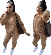 Winter bijpassende tweedelige effen kleur pluche hoodie sweatsuit
