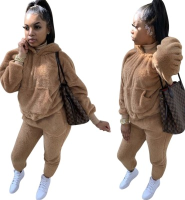 Winter Matching Two Piece Solid Color Plush Hoodie Sweatsuit