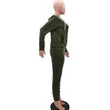 Solid Plain Long Sleeve Hoodie Zipper Tracksuit