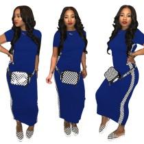 Kurzärmel Print Blue Long Shirt Kleid