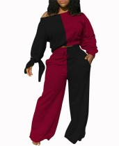 Autumn Matching Contrast Crop Top and Loose Trousers Pants