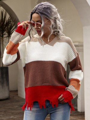 Autumn Contrast V-Neck Plush Pullover Sweaters