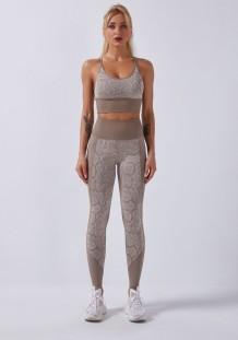 Sportfitness yoga-bh met luipaardprint en leggingset met hoge taille