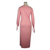 Autumn Solid Color Casual Long Dress with Tied Cuffs