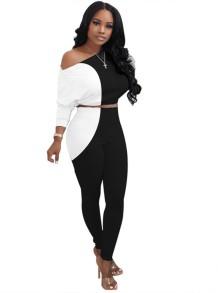 Sonbahar Eşleşen Beyaz ve Siyah Kontrast Kırpma Üst ve Pantolon Takım