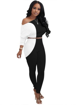 Autumn Matching White and Black Contrast Crop Top and Pants Set