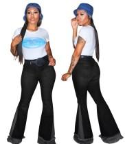 Calças jeans estilo contraste patchwork com cintura alta
