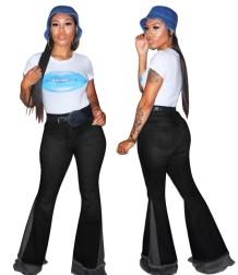Jeans acampanados de cintura alta con retazos en contraste con estilo