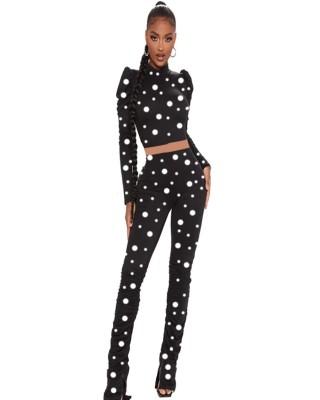Autumn Matching Polka Crop Top and High Waist Stack Pants Set