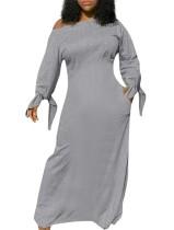 Herbstliches einfarbiges lässiges langes Kleid mit gebundenen Manschetten