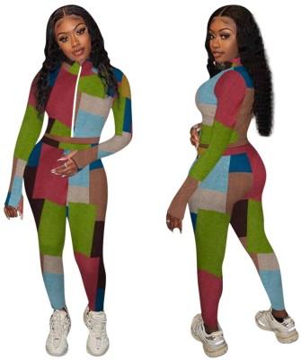 Conjunto de calças e top colorido com zíper de duas peças combinando outono