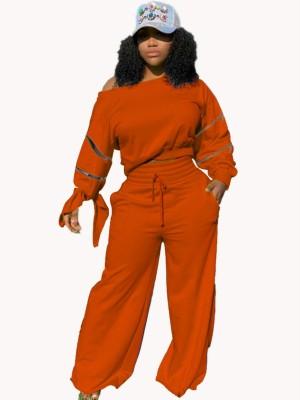 Conjunto outono casual cor sólida com zíper recortado e calças soltas