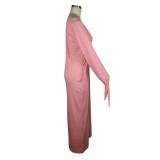 Robe longue décontractée de couleur unie d'automne avec poignets noués