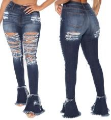 Jeans rasgados de cintura alta con parte inferior de campana con estilo