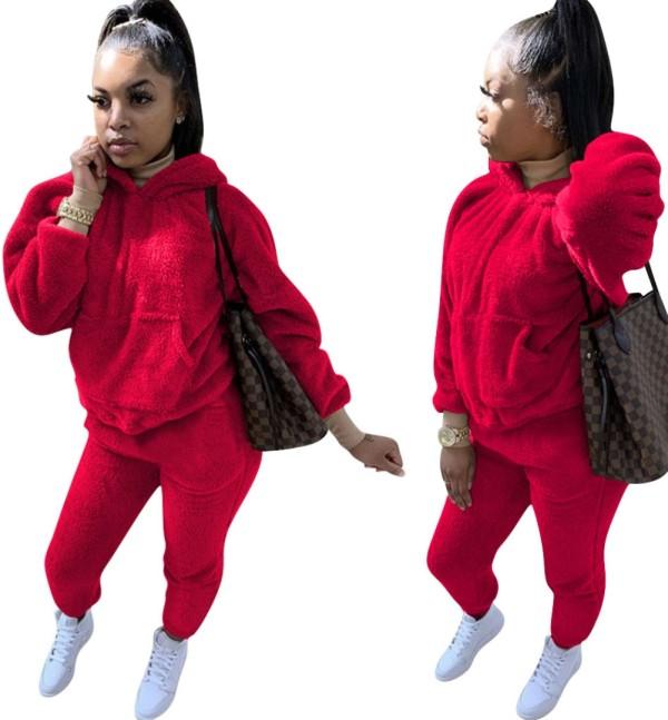 Winter passender zweiteiliger einfarbiger Plüsch-Hoodie-Trainingsanzug