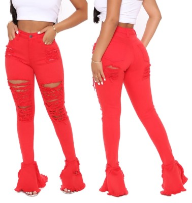 Stylish Bell Bottom High Waist Ripped Jeans