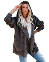 Abrigo con capucha de forro polar de color sólido de otoño