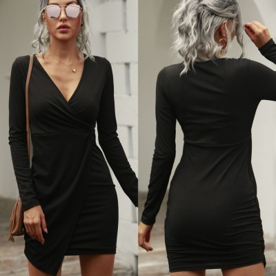 Autumn Sexy Black V-Neck Wrapped Mini Dress with Full Sleeves