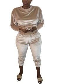 Sonbahar Rahat Eşleşen Kadife Gömlek ve Pantolon Seti