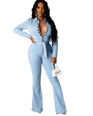 Autumn Light Blue Button Up Collar Jumpsuit with Belt