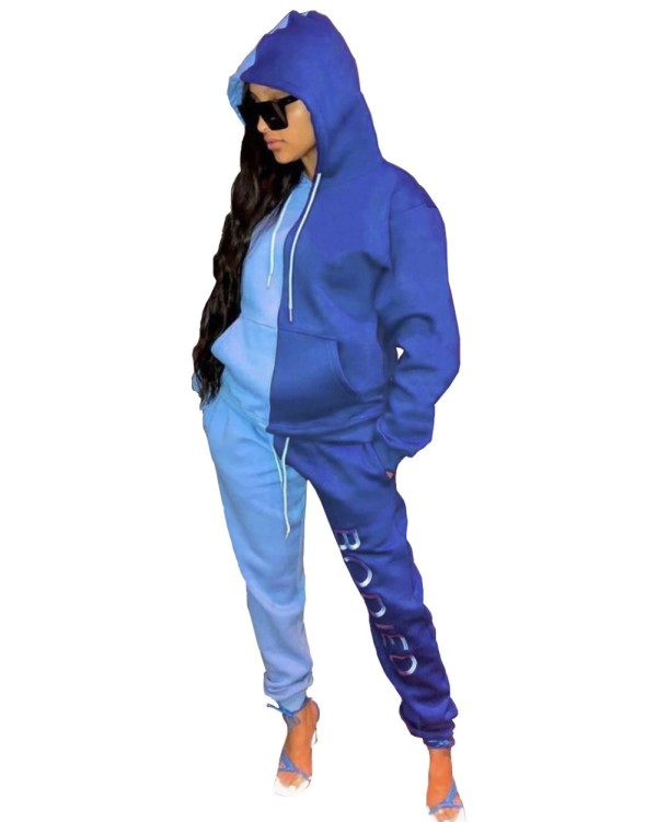 Autumn Contrast Color Hoodie Sweatsuit